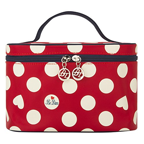 Travel Train Case Red, Yeiotsy Portable Cute Polka Dots Cosmetic Bag Small Travel Makeup Organizer (Small, Classic (Dots Train Case)
