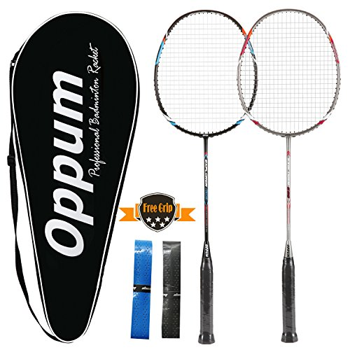cee7c8be4 oppum 100% Full-Carbon Fiber Professional 2 Player Badminton Racquets Set  Super Lightweight Badminton Rackets Including 2 Rackets 1 Carrying Bag 2  Overgrips