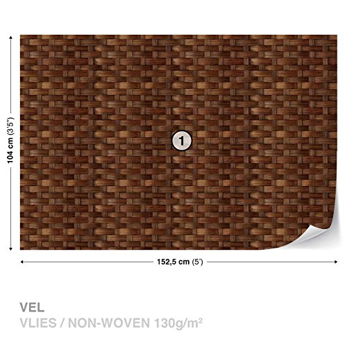 Weave Texture Brown Wicker Wall Mural Photo Wallpaper Room Décor (3196WS)