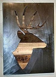 Deer Silhouette - Stag Deer - Buck -Metal Art - Reclaimed Wood and Aged Steel - 20x28 - by Legendary Fine Art