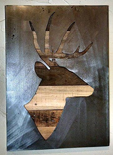 Deer Silhouette - Stag Deer - Buck -Metal Art - Reclaimed Wood and Aged Steel - 20x28 - by Legendary Fine Art by LegendaryFineArt