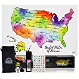 all about number chart - United States Scratch Map Poster With Easy Scratch U.S. Gold Foil Reveals USA States In Stunning Watercolor - 12 x 18 Poster In GORGEOUS FULL COLOR GIFT BOX