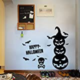 Halloween Festival Room Decoration Wall Decals Pumpkin Bat Removable Art Stickers for Home Office Shop Decor 22.4 x 13.4 Inch