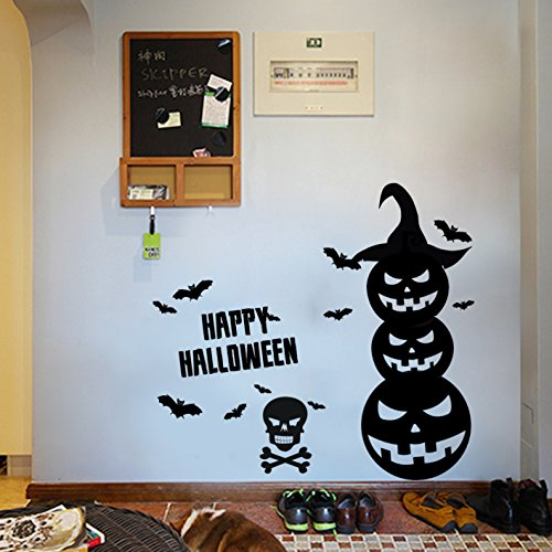 Halloween Window Cling Wall Sticker Pumpkin Removable Wall Decals Pumpkin Bat Wall Art Mural for Halloween Festival Decoration 22.4 x 13.4 Inch]()