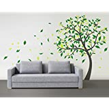 Designer Playground Blowing Tree With Lots Of Falling Leaves, Birds And Nest Vinyl Wall Decal (60W X 75H Inches ) W014 Grey, Green, Lime