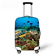 """Blue Sea World Travel Luggage Cover CHAQLIN Elastic Underwater Animals 18""""-30"""" Inch Trolley Suitcase Protector"""