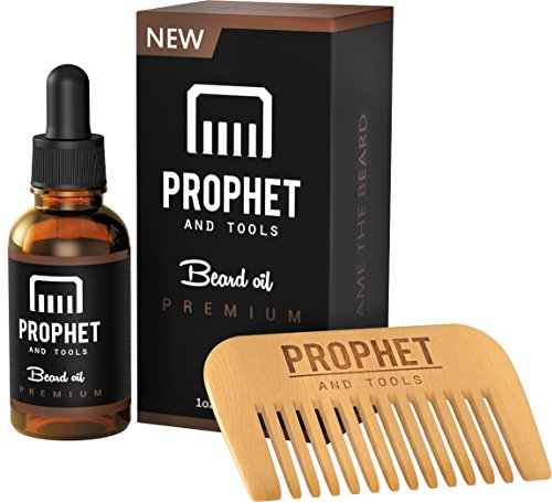 Prophet and Tools Beard Oil and Beard Comb Kit FOR MEN! The All-In-One Unscented Conditioner, Softening, Adds Shine and Faster Beard Growth - 0% Alcohol, Vegan and Nuts-Free