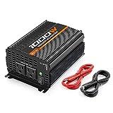 POTEK 1000W Power Inverter Dual AC Outlets 12V DC to 110V AC Car Inverter with USB Port