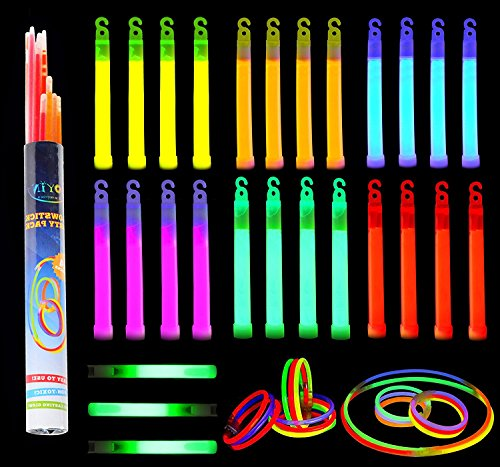 Buy Discount Glow Sticks, 52 Pieces Including 28 6 Long 0.6 Extra Thick Premium Industrial Grade G...
