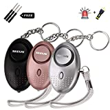 Seeus Personal Alarm 3 Pack 140 dB Safe Sound Emergency Self-Defense Security Alarms with LED Light for Elderly Students Women Man Kids Night Workers
