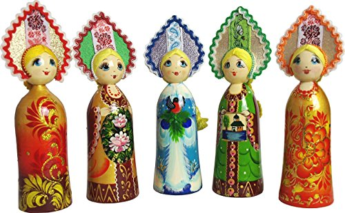 Handpainted Folk Doll in Traditional Russian Folk Costume – Souvenir for women – 7 ½ inches Tall – Folk Art Toy – 1 doll per set