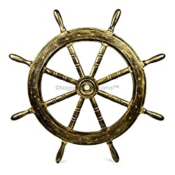 Nautical Handcrafted Wooden Ship Wheel - Home Wall Decor - Nagina International (30 Inches, Antique Golden)