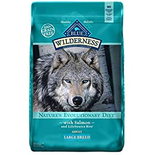 Blue Buffalo Wilderness High Protein Grain Free, Natural Adult Large Breed Dry Dog Food, Salmon 24-lb, Model:800056