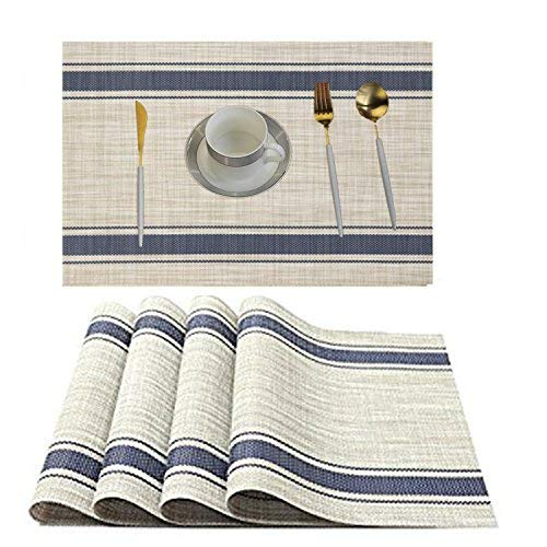 WANGCHAO Placemats Dining Table mats Heat-Resistant Washable Table Mats Placemats for Dining Table Splice Insulation Cushion Tan and Navy Blue Stripe Pattern Set of 4 (Navy Blue Stripe)