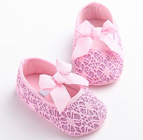 Zapatos de bebé,Tongshi Cuna De Niño Niña Zapatos Zapatillas De Bebé Antideslizante Suela Suave Flor Recién Nacida Rosa