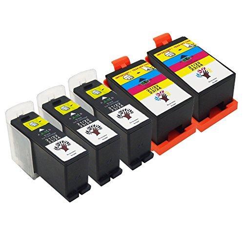 GREENSKY 5 Pack(3 Black & 2 Color) High Yield Compatible Ink Cartridge for Dell Series 21/22/ 23/24 P513w P713w V313 V313w V715w V515w
