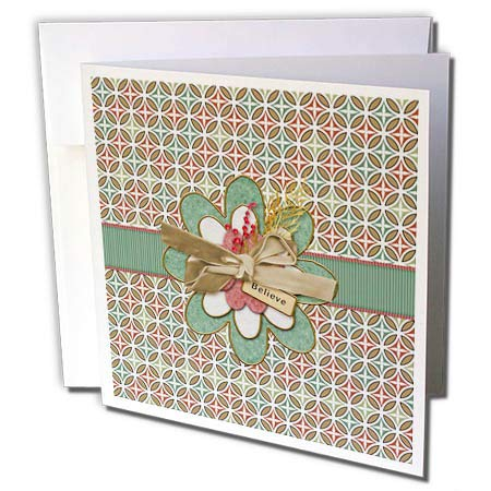 - 3dRose Beverly Turner Christmas Design - Believe, Image of Flower on Ribbon, Berries, and Velvet Bow, Diamond - 6 Greeting Cards with envelopes (gc_302960_1)
