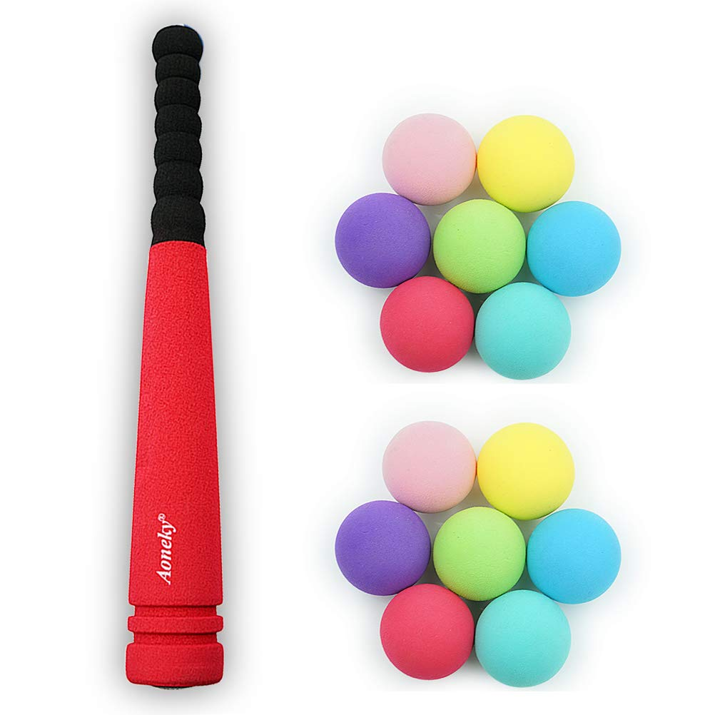 Aoneky Min Foam Bat with Multi Balls for Toddler - Indoor Soft Super Safe TBall Set Toys for Kids Age 2 Years Old (Red) by Aoneky