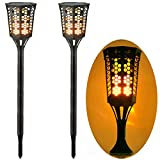 Cheap FVTLED Path Torches Dancing Flame Lighting Waterproof Flickering Flames Outdoor Landscape Decoration Lighting Table Lamp for Garden Patio Deck Yard Driveway (2 Pack, Solar Flame Lamp)