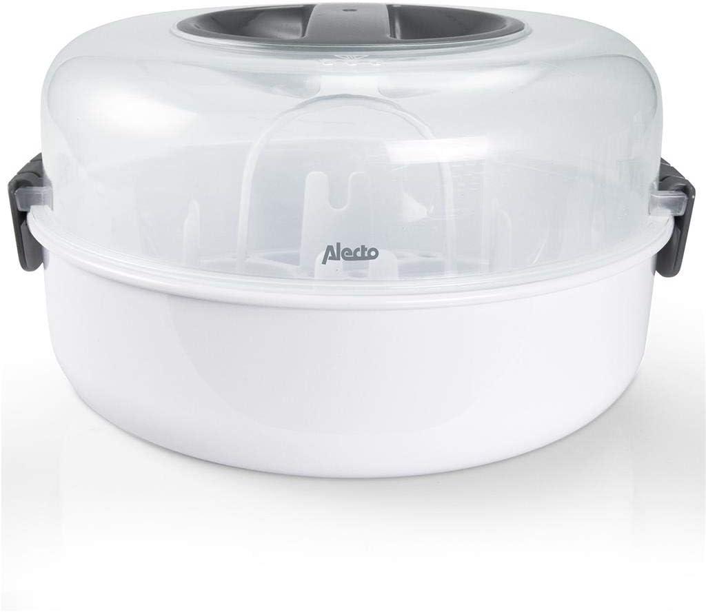bombas de leche vasos Alecto BW-04 Esterilizador de microondas para hasta 4 biberones de 150 ml vasos y cubiertos Incluye pinzas para botellas.