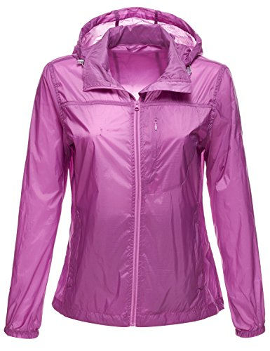 Lightweight Packable Water Resistant Rain Wind Jackets,078-Purple,US ML