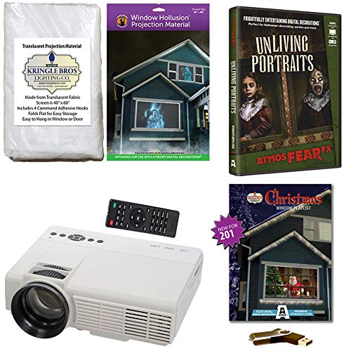 AtmosFearFx Christmas and Halloween Digital Decoration Kit Includes 1200 Lumen Projector, Hollusion (W) + Kringle Bros Rear Projection Screens, Christmas Compilation (USB) & Unliving Portraits (DVD) -