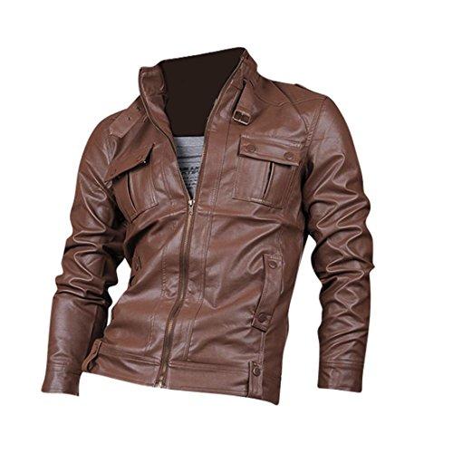 Jeansian Top De Cuero De Abrigos De Moda para Hombre Chaqueta Mens Fashion Jacket Outerwear Leather Top 8910 Brown