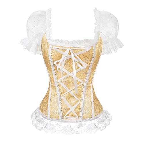 Blidece Gothic Tapestry Lace up Boned Corset Overbust Bustier with Lace Sleeves, Gold Small