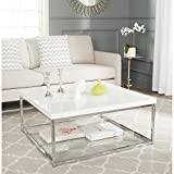 Safavieh Home Collection Malone White and Chrome Coffee Table For Sale