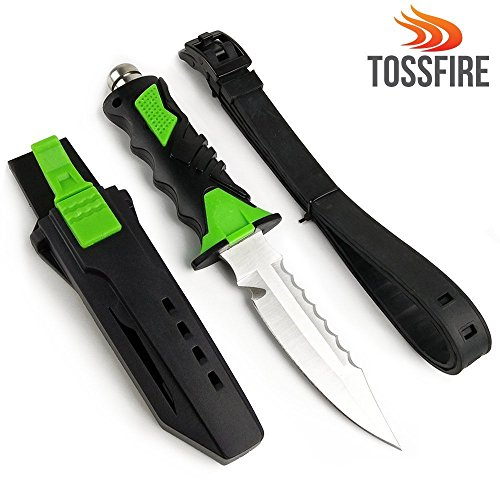 "Tactical Ergonomic Multiuse Dive Knife Gear 9x1.6"" Scuba Diving Snorkeling Survival Double Edge Smooth Sharp Serrated Corrosion Resistant Stainless Steel Blade Premium ABS Sheath Lock Release Button"