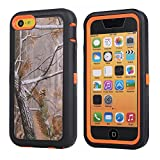 MOONCASE iPhone 5C Case, [Realtree Camo Series] 3 Layers Heavy Duty Defender Hybrid Soft TPU +PC Bumper Triple Shockproof Drop Resistance Protective Case Cover for Apple iPhone 5C -Orange Tree