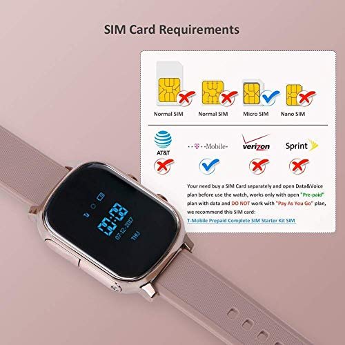 Hangang GPS Tracker For Kids Children Smart Watch Kids Wrist Watch T58 Anti-lost SOS Call Location Finder Remote Monitor Pedometer Functions Parent Control iPhone Android Smartphones APP (gold)(T58G) by Hangang (Image #3)