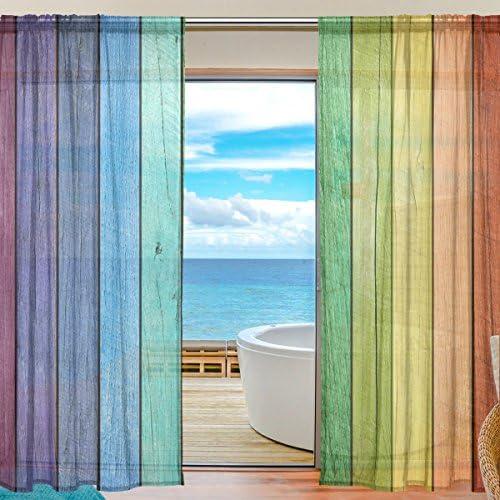 DEYYA Custom Rainbow Board Window Sheer Curtain Panels 55″x78″,Tie Dye Stripe Modern Window Treatment Panel Collection