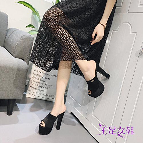 KHSKX-Summer Super High Slippers Women Feel Thick Fish Mouth Thick Waterproof Taiwan Black Nightclub Shoes Black zgQRXN