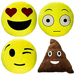 4 Emoji Plush Pillow Set Stuffed Emoticon Toys Yellow Round Cushion Smiley Poop