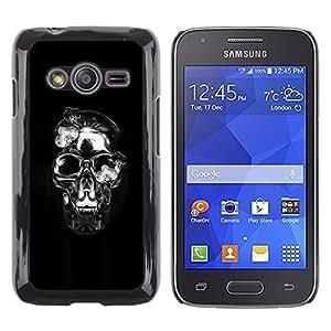 Shell-Star Arte & diseño plástico duro Fundas Cover Cubre Hard Case Cover para Samsung Galaxy Ace4 / Galaxy Ace 4 LTE / SM-G313F ( Crystal Skull Black Silver Death Metal )