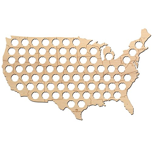 State Beer - USA Beer Cap Map with States Boardes - 23x14 inches - 75 caps - Beer Cap Holder USA - Birch Plywood