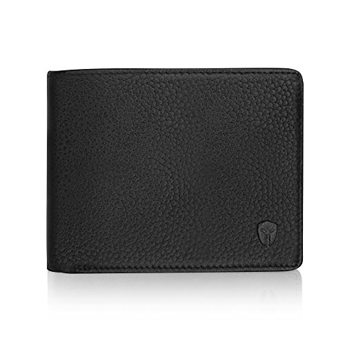 2 ID Window RFID Wallet for Men, Bifold Top Flip, Extra Capacity Travel Wallet (Black – Pebble Leather, Medium)