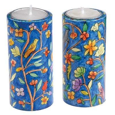 Round Shabbat Candlesticks - Oriental