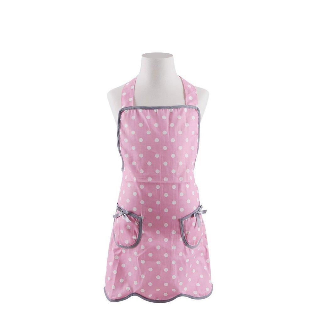 G2PLUS Lovely Classic Style Garden Pink Polka Dots Pure Cotton Canvas Apron Women's Apron with 2 Pockets for cooking or Baking Great Gift For Wife Daughters Ladies (Adult Women)