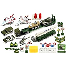 Special Heavy Army Force 40 Piece Mini Diecast Children's Kid's Toy Vehicle Playset w/ Variety of Vehicles, Accessories