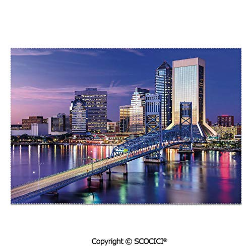 SCOCICI Set of 6 Printed Dinner Placemats Washable Fabric Placemats Urban Cityscape Bridge Office Buildings Jacksonville Florida for Dining Room Kitchen Table Decoration ()