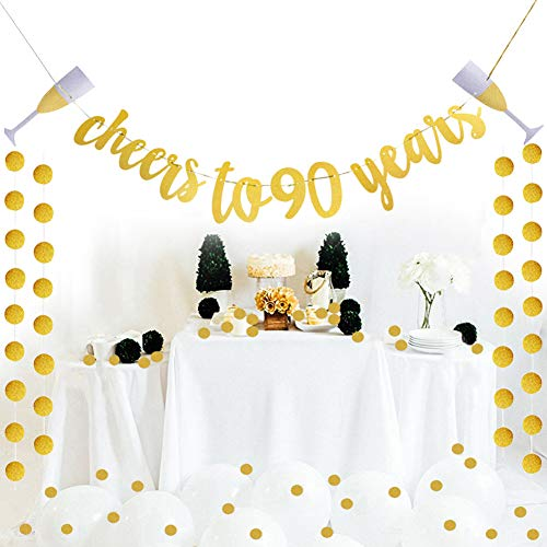 Glittery Gold Cheers To 90 Years Banner For 90th Birthday Wedding Anniversary Party Decoration