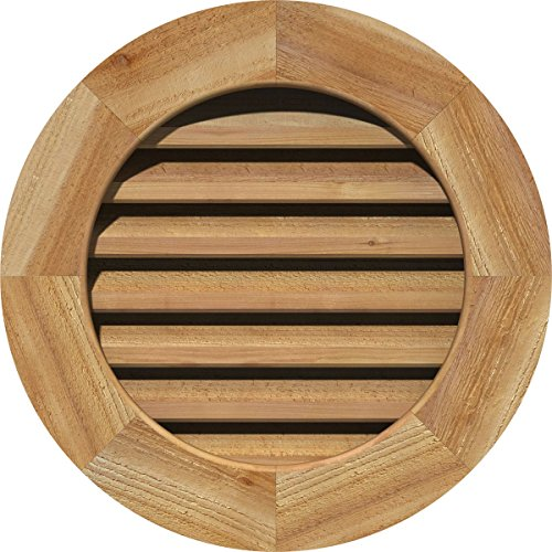Ekena Millwork GVWRO20X2000RFUWR Unfinished, Functional, Rough Sawn Western Red Cedar with Brick Mould Face Round Gable Vent 25-Inch x 25-Inch Frame Size, 20-Inch x 20-Inch