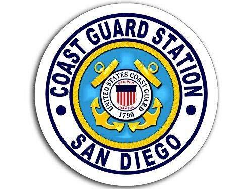 MAGNET 4x4 inch Round Coast Guard Station SAN Diego Logo Sticker (USCG Navy ca) Magnetic vinyl bumper sticker sticks to any metal fridge, car, signs ()
