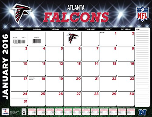 "Turner Atlanta Falcons 2016 Desk Calendar, January-December 2016, 22 x 17"" (8061527)"