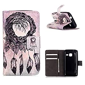 MOONCASE Galaxy J1 Mini Funda, [Dreamcatcher] Relief Patrón Carcasa De Cuero Billetera [Card Slot] Case Con Soporte Plegable para Samsung Galaxy J1 Mini
