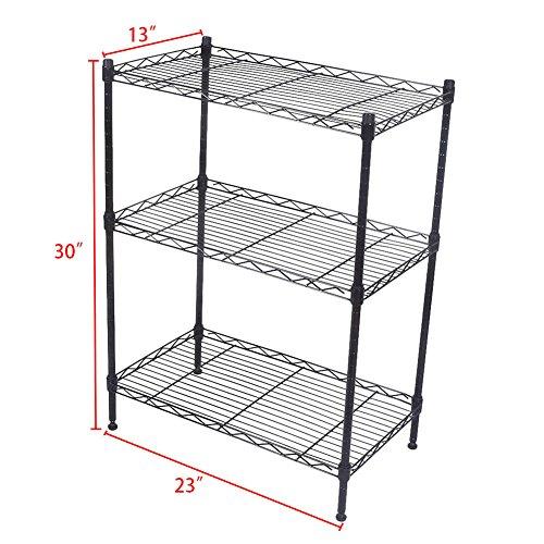 GZYF 3 Tier Shelving Wire Rack Shelf Metal Shelves Adjustable 23''X13''X30'' 1 PC by GZYF