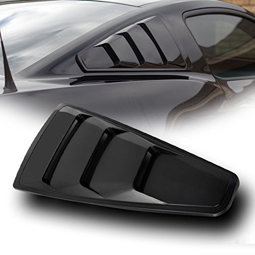 VXMOTOR 2005-2014 Ford Mustang Black GT3 Vent Rear 1/4 Quarter Side Vent Window Louvers V2 (2006 Mustang Louvers compare prices)