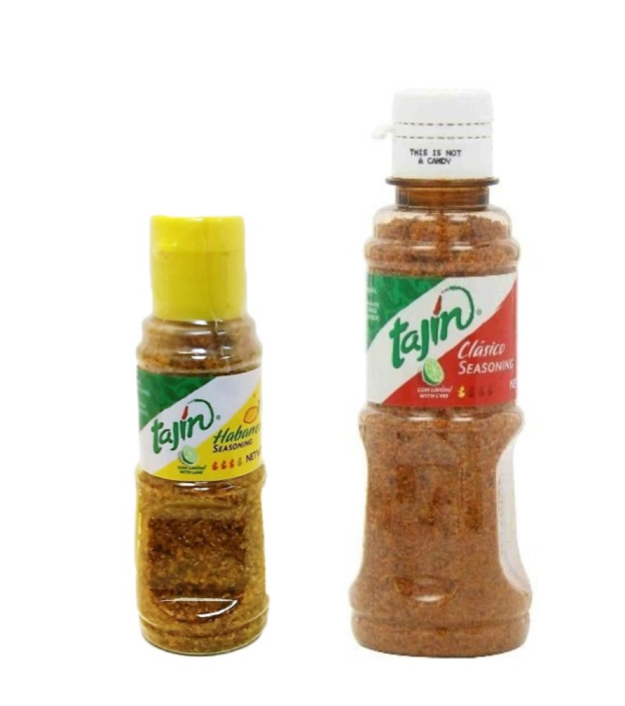 Tajín Clásico Seasoning with Lime 5 oz and Tajin Habanero w Lime 1.6 oz Food Seasoning Combo Pack - great for Fruit, Vegetables, Fish and Seafood